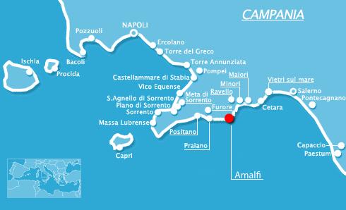 Costiera amalfitana mappa