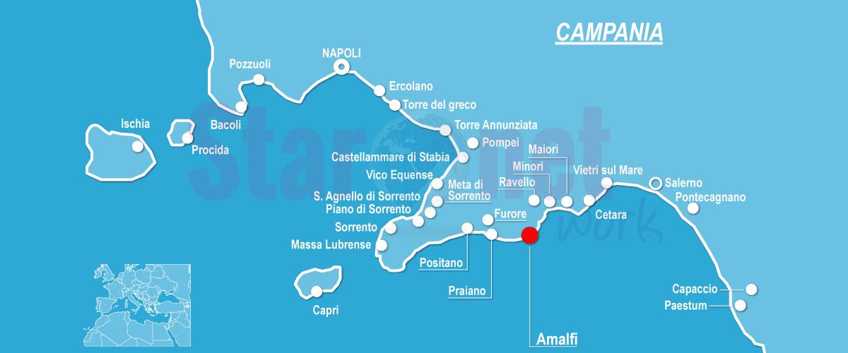 Cartina Geografica Napoli E Dintorni.Costiera Amalfitana Mappa Del Territorio Con Le Info Utili
